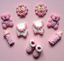 10 BABY GIRL PINK Edible CHRISTENING,BABY SHOWER CUPCAKE TOPPERS,CAKE DECORATION