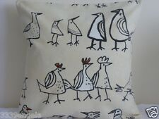 "16"" NEW CUSHION COVER FUNKY CHICKENS HENS BIRD QUIRKY FRENCH FARMHOUSE BEIGE"