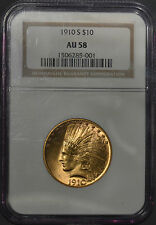 1910-S SCARCE American Indian Head Gold Eagle $10 NGC AU 58