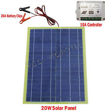 20W Portable Epoxy Solar Panel Kit for Car Camping Adventure 12V Battery Charge