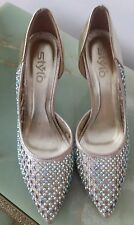 NEW Women's gold High Heel pointed toe shoe with rhinestone embellishment-Size 6