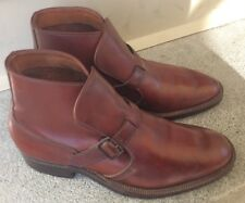 Rare Vintage Cole Haan Mens 6 Brown Leather Dress Buckle Ankle Boots Shoes GUC