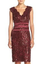 TADASHI SHOJI SEQUIN TULLE DOUBLE V FRONT & BACK RUBY RED SHEATH DRESS sz 6