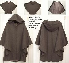 Jason Kole HOODED Lined Gray WOOL CAPE COAT Avant Garde ANGEL WING CLOAK/S