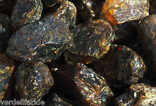 "5 LB BLACK AMBER Rough Large 2.5-4"" Rock for Tumbling Tumbler Stones 11,000+ Ct"