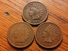 3 INDIAN HEAD PENNY CENT ANTIQUE RARE US SCARCE COIN 1898,1903,1908 NO JUNK #19F