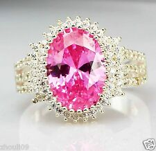 925 Silver Glod Filled Natural Pink Sapphire Size 8 Engagement weeding Ring 282