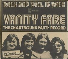M30/12/72PM5 Vanity fare : rock and roll is back advert 5x7""