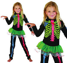 Childrens Skeleton Girl Halloween Fancy Dress Costume Neon Kids Childs XL