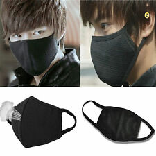 cycling Anti-Dust Mouth Face Respirator mask 2pc Unisex black cotton sports