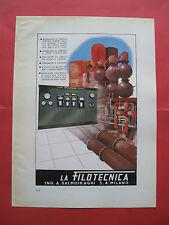PUBBLICITA LA FILOTECNICA SALMOIRAGHI  impianti caldaia termometri poster  1941