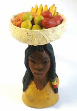 Jamaican Sculpture Clay Figurine Rasta Woman with Fruit Basket 5""