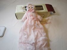 Heritage Dolls Doll wind up music box back Toni pink dress bisque porcelain