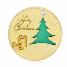 2016 Gold Plated Commemorative Coin Merry Christmas Collectible Gift Collection