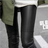 Damen Slim Leggins Hose Kunst Lederhose Jeans Strumpfhose Faux Leder Schwarz