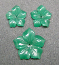 SET 3 PCS.OF PHLOX  FLOWER CARVING 4 DESIGNER JEWELRY: NATURAL GREEN CHALCEDONY
