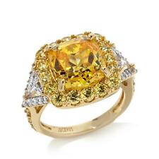 JEAN DOUSSET 8.07 CT ABSOLUTE VERMEIL CANARY & CLEAR 2-TONE RING SIZE 6 HSN $119