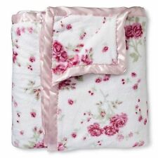 Simply Shabby Chic Cozy Pink Floral Rose Plush Blanket Satin Trim TWIN NWT
