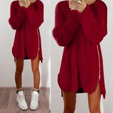 Women Winter Zipper Casual Loose Long Sleeve Sweater Knitwear Pullover Jumper