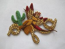 "#3055 3-1/2"" Cowboy Hat,Rope,Bow & Arrow,Cactus Embroidery Appliques Patch"