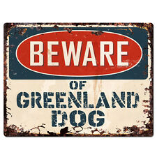 PPDG0097 Beware of GREENLAND DOG Plate Rustic TIN Chic Sign Decor Gift
