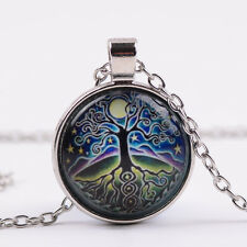 Vintage star tree of life Cabochon Glass Tibet Silver Chain Pendant Necklace W24