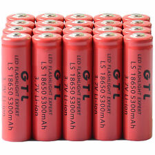 20x 3.7V 18650 GTL Li-ion 5300mAh Red Rechargeable Battery for LED Torch US