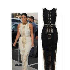 Ladies Celeb White/Black Gold Stud Rayon Red Carpet/Party/Cocktail Bandage Dress