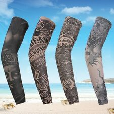 Hot Cycling Tattoo Sleeve Cover Bicycle Sunscreen Breathable Arm Warmers Random