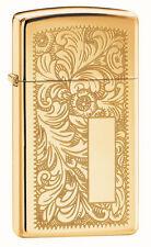 Zippo 1652B, Venetian, Slim Size, Design Front & Back, High Polish Brass Lighter