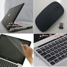 4in1 Black Rubberized Hard Case Wireless Mouse for Macbook Pro 13 inch A1278