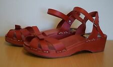 New & Boxed Swedish Hasbeens Papillion Sandals In Red - UK 6 (65)