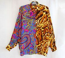 VERSACE Jeans couture ladies shirt leopard baroque gianni silk M oversized