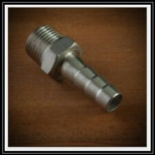 "HOSE BARB BARBED NIPPLE 7/16"" HOSE TO BREW KETTLE BALL VALVE 304 STAINLESS STEEL"