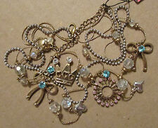 NEW Betsey Johnson Necklace Ice Princess Tiara Bow Charms RARE