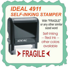 Fragile, Custom Made, Trodat / Ideal Self Inking Rubber Stamp 4911 Red Ink