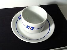 RARE PORSGRUND NAUTICAL COLLECTIBLE CUP AND SAUCER  CHRISTIANIA GLASS
