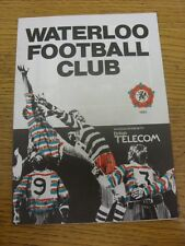 20/09/1986 Rugby Union Programme: Waterloo v Blackheath [National Merit Game] (s