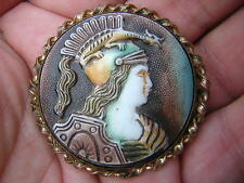 ANTIQUE VINTAGE GOLD PINCHBECK CAMEO LADY W DRAGON HELMET!