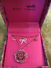 Betsey Johnson Crystal Rose flower necklace NWT and Box