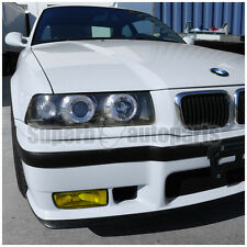 1992-1998 BMW E36 2/4DR 325i M3 Halo Projector Headlights Black+Fog Lamps Yellow