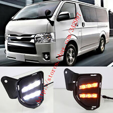 2x LED Daytime Day Fog Light DRL Run lamp w/Turn Signal For Toyota Hiace 2014-16