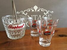 Set of Vintage French St Raphael Ice Bucket And 3 x glasses Retro Bar Breweriana