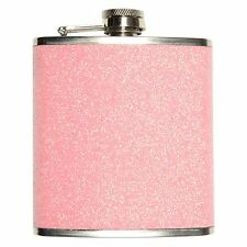Ladies Funky Pink Glitter Pocket Hip Flask - Retro Womens Wedding Gift