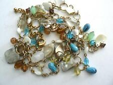 JOAN RIVERS SHELL TURQUOISE BEADS  OCEAN SPRAY COLORS NECKLACE