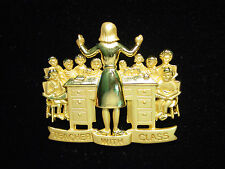 """JJ"" Jonette Jewelry Bright & Matte Gold Pewter 'TEACHER with Class' Pin"