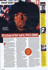 RICHARD WRIGHT PINK FLOYD OBITUARY press clipping approx 30x20cm 2008