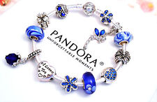 Authentic Pandora Silver Bangle Bracelet With Blue Love Valentine European Charm