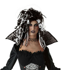 LADIES BLACK WHITE GOTHIC VAMPIRE WITCH HALLOWEEN FANCY DRESS COSTUME WIG NEW