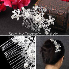 Bridal Wedding Hair Accessories Clips Pearls Crystal Clip-in-Pin Comb jewellery